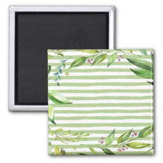 Watercolor Art Bold Green Stripes Floral Design Magnet