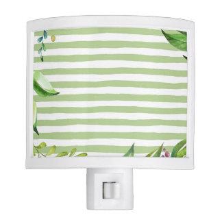 Watercolor Art Bold Green Stripes Floral Design Nite Light