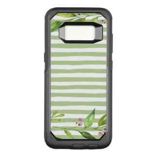 Watercolor Art Bold Green Stripes Floral Design OtterBox Commuter Samsung Galaxy S8 Case