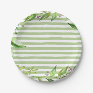 Watercolor Art Bold Green Stripes Floral Design Paper Plate