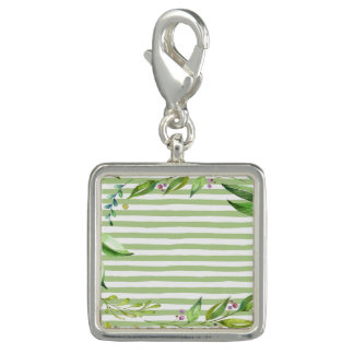 Watercolor Art Bold Green Stripes Floral Design Photo Charms