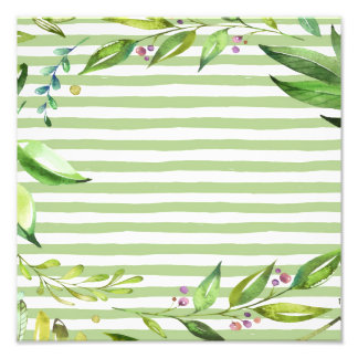 Watercolor Art Bold Green Stripes Floral Design Photo Print