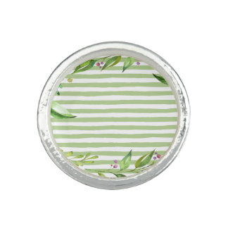 Watercolor Art Bold Green Stripes Floral Design Photo Ring