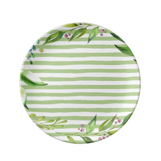 Watercolor Art Bold Green Stripes Floral Design Plate