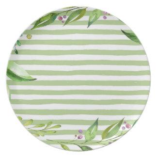 Watercolor Art Bold Green Stripes Floral Design Plate
