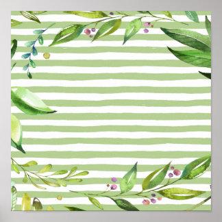 Watercolor Art Bold Green Stripes Floral Design Poster