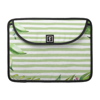 Watercolor Art Bold Green Stripes Floral Design Sleeve For MacBooks