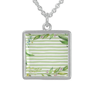 Watercolor Art Bold Green Stripes Floral Design Sterling Silver Necklace