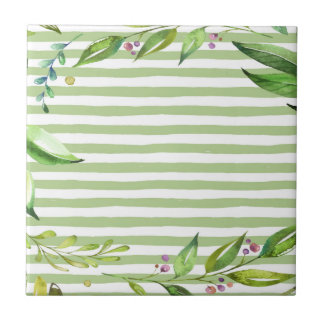 Watercolor Art Bold Green Stripes Floral Design Tile