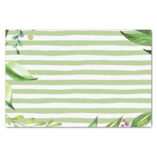 Watercolor Art Bold Green Stripes Floral Design Tissue Paper