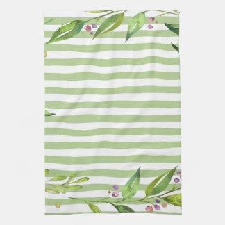 Watercolor Art Bold Green Stripes Floral Design Towels