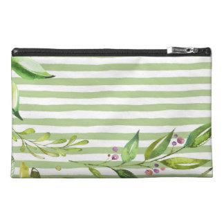 Watercolor Art Bold Green Stripes Floral Design Travel Accessory Bag