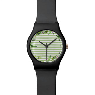 Watercolor Art Bold Green Stripes Floral Design Watch