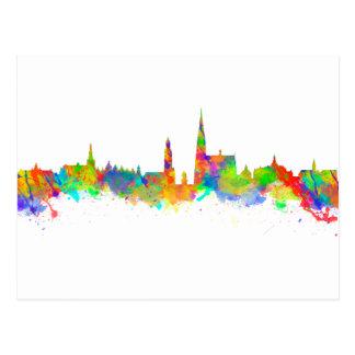 Watercolor art print of the skyline of Antwerp Postcard