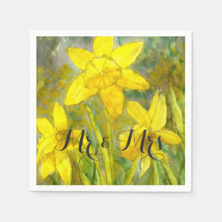 Watercolor Art Yellow Flowers Daffodils Mr and Mrs Disposable Napkin