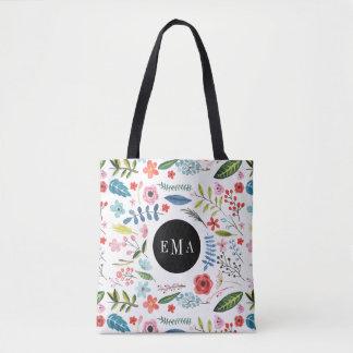Watercolor Assorted Floral Elements Illustration Tote Bag