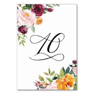 Watercolor Autumn Blooms Floral Table Number 10