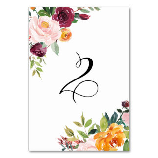 Watercolor Autumn Blooms Floral Table Number 2 Table Cards