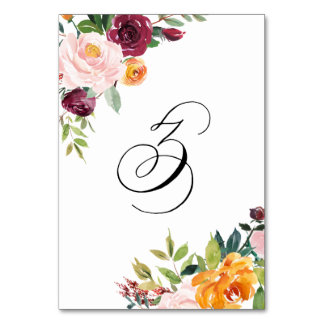 Watercolor Autumn Blooms Floral Table Number 3 Table Cards