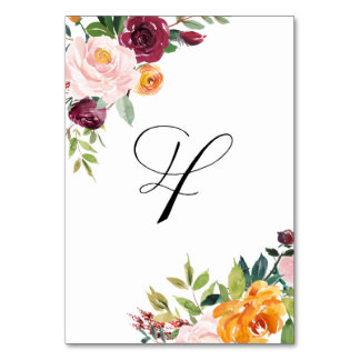 Watercolor Autumn Blooms Floral Table Number 4 Table Card