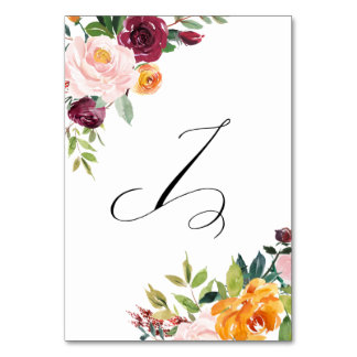 Watercolor Autumn Blooms Floral Table Number 7 Table Card