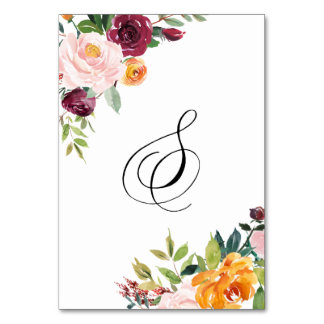Watercolor Autumn Blooms Floral Table Number 8 Table Card