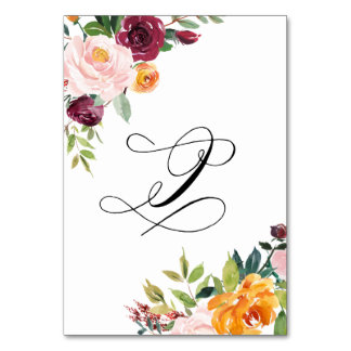 Watercolor Autumn Blooms Floral Table Number 9 Table Cards