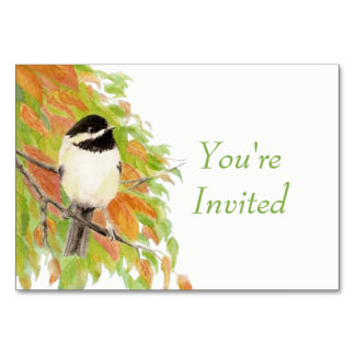 Watercolor Autumn Fall Chickadee Bird Wedding Card