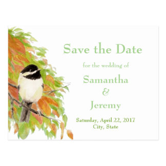 Watercolor Autumn Fall Chickadee Save the Date Postcard