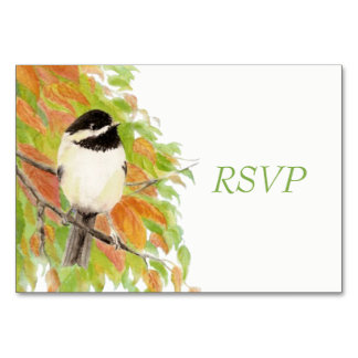 Watercolor Autumn Fall Chickadee Wedding RSVP Table Card