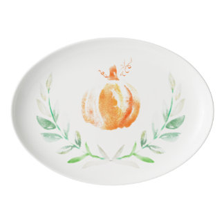 Watercolor Autumn Fall Leaves & Pumpkin Wreath Porcelain Serving Platter