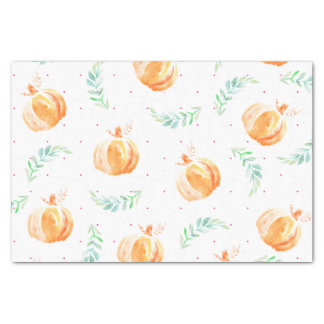 Watercolor Autumn Fall Pumpkins & Laurels Tissue Paper