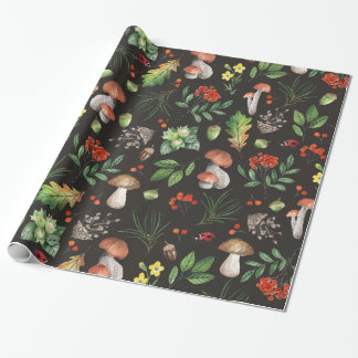 Watercolor Autumn Forest Leaves Mushrooms Floral | Wrapping Paper