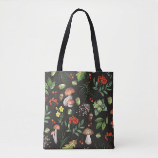 Watercolor Autumn Forest Mushrooms Leaves Floral | Tote Bag