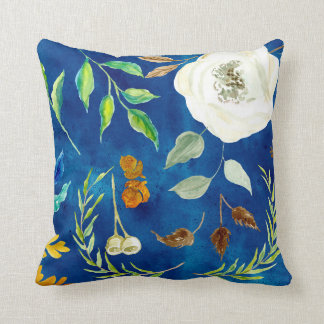 Watercolor Autumn Leaf Wreath Floral Oak Acorn Art Throw Pillow