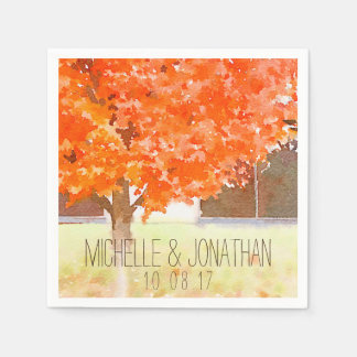 Watercolor Autumn Leaves | Fall Wedding Napkin Disposable Napkins