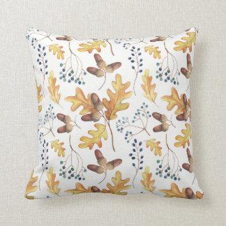 Watercolor Autumn Oak Leaves Acorns Blue Berries   Throw Pillow