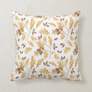 Watercolor Autumn Oak Leaves Acorns   Throw Pillow