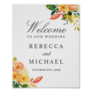 Watercolor Autumn Peach Floral Wedding Sign