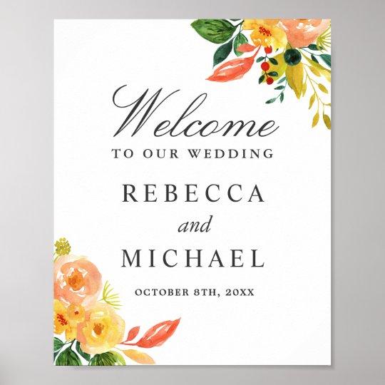 Watercolor Autumn Peach Floral Wedding Sign