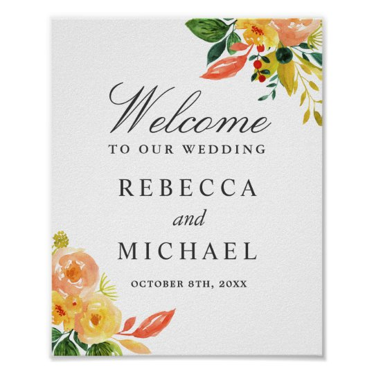Watercolor Autumn Peach Floral Wedding Sign Poster