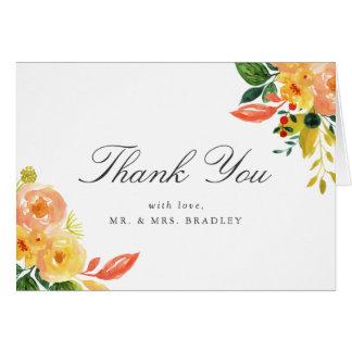Watercolor Autumn Peach Floral Wedding Thank You Card