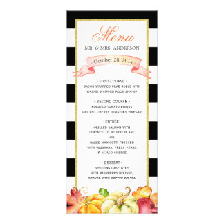 Watercolor Autumn Pumpkin Leaves Fall Wedding Menu