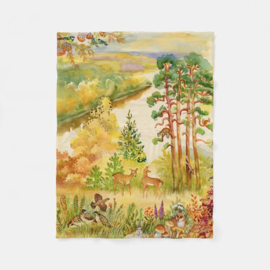 Watercolor Autumn Scene Small Fleece Blanket