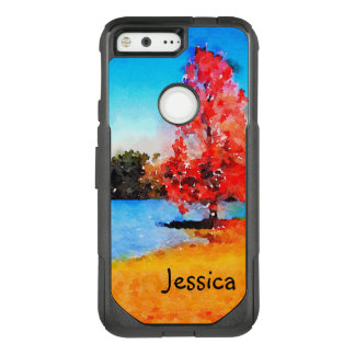 Watercolor Autumn Tree and Lake OtterBox Commuter Google Pixel Case