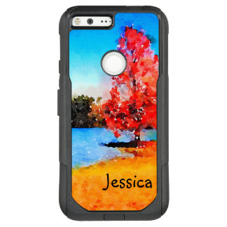Watercolor Autumn Tree and Lake OtterBox Commuter Google Pixel XL Case