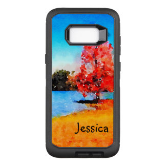 Watercolor Autumn Tree and Lake OtterBox Defender Samsung Galaxy S8+ Case