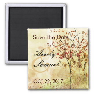 Watercolor Autumn Trees Save the Date Magnet