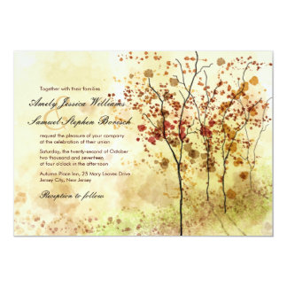 Watercolor Autumn Trees Wedding Invitation