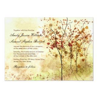 "Watercolor Autumn Trees Wedding Invitation 5"" X 7"" Invitation Card"